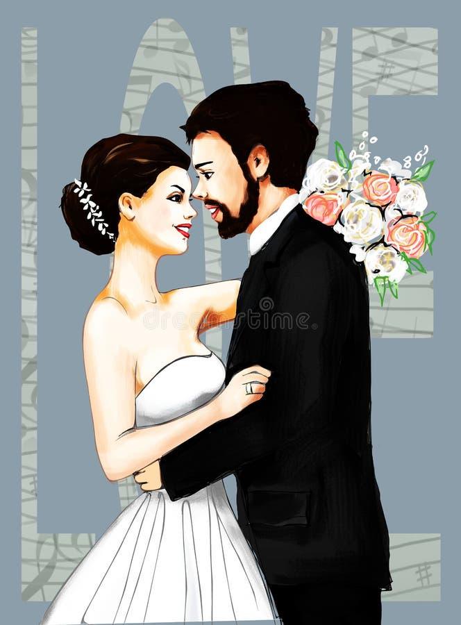 Cartão de Marriage Ceremony Marriage dos noivos, convite, amor, história de amor, mulher, fêmea, ilustração, paiting, dracma ilustração royalty free