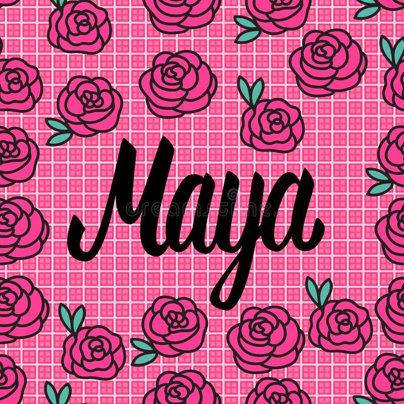 Cartão de Maya Name com as rosas cor-de-rosa bonitas Ilustração do vetor ilustração stock