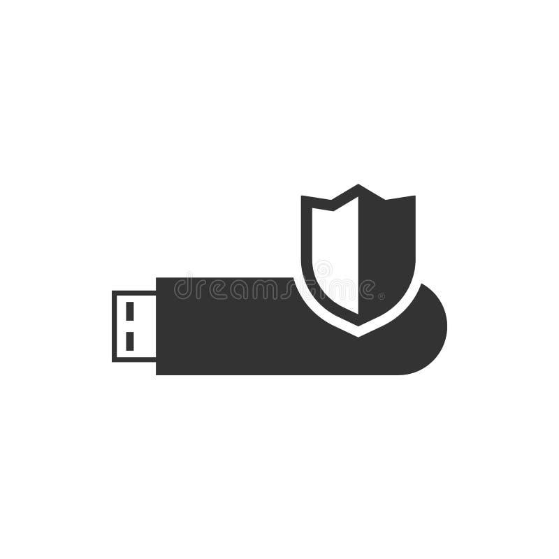 Cartão de memória do Usb, fechamento, ícone do vetor da segurança ?cone do vetor da seguran?a ilustração stock