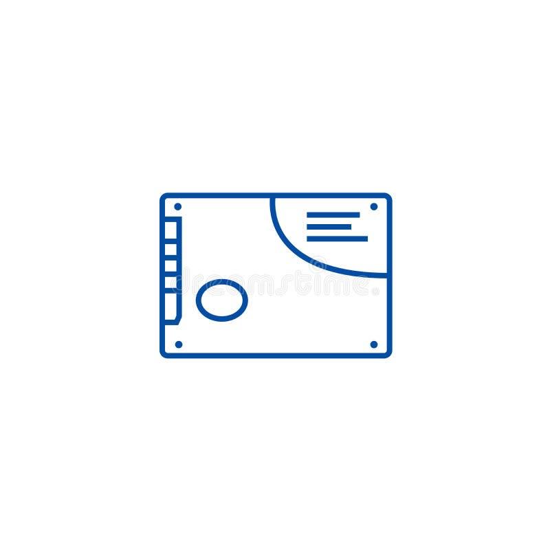 Cartão de memória, linha conceito do ssd do ícone Cartão de memória, símbolo liso do vetor do ssd, sinal, ilustração do esboço ilustração stock