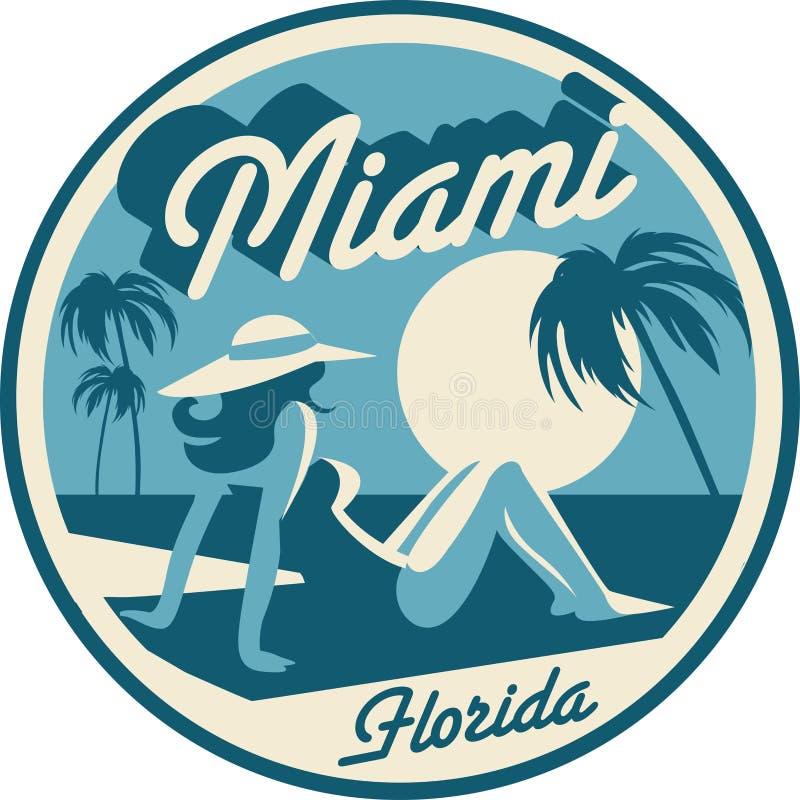 Cartão de Miami Beach Florida ilustração stock