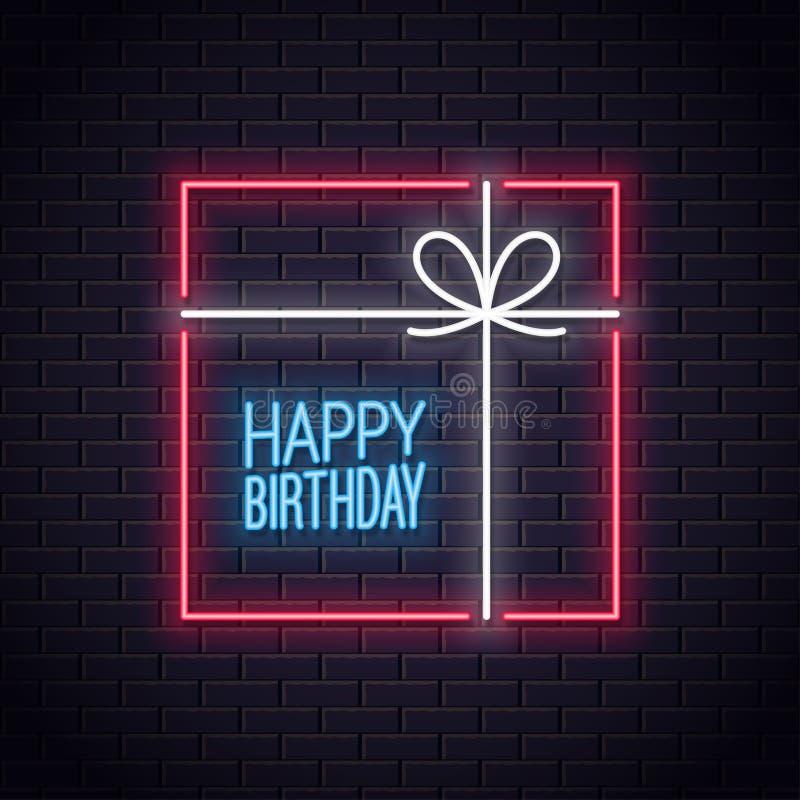 Cartão de néon do feliz aniversario Néon da caixa de presente do aniversário ilustração royalty free