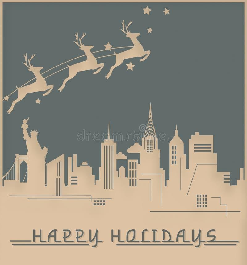 Cartão de Natal Art Deco Skyline Vintage de New York ilustração royalty free