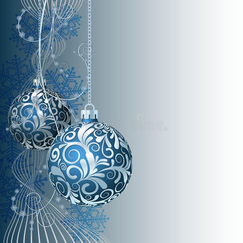 Cartão de Natal azul ilustração royalty free