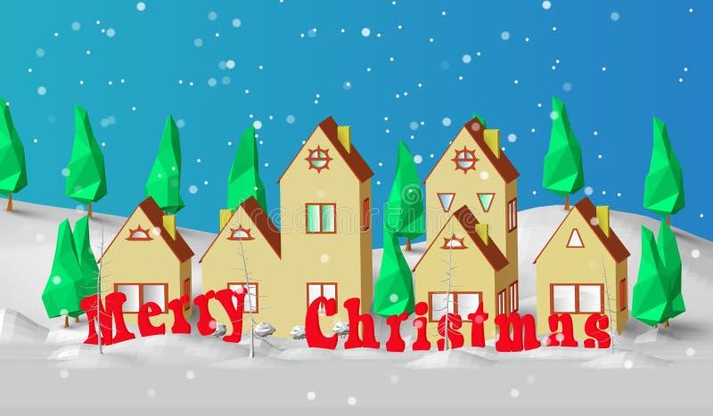 Cartão de Natal Baixo modelo poligonal das casas A vila está espírito do ano novo da floresta coberto de neve em um bom ilustração royalty free