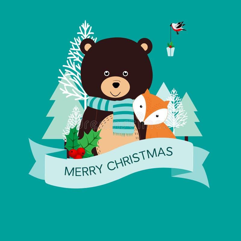 Cartão de Natal bonito ilustração stock