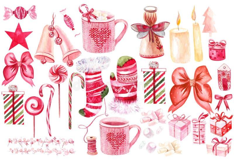 Cartão de Natal bonito da aquarela com presentes do Natal, brinquedos, ornamento Uma árvore e cones de Natal ilustração royalty free
