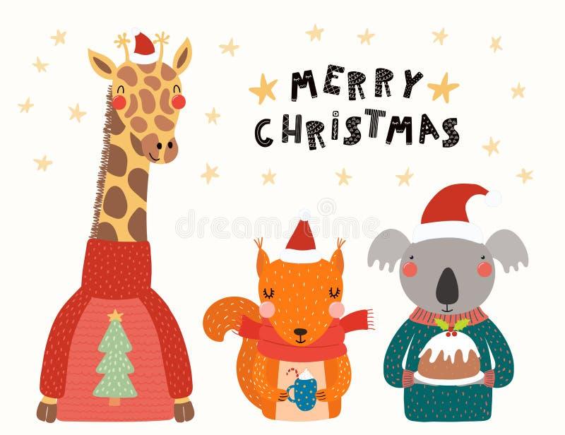 Cartão de Natal bonito dos animais ilustração do vetor