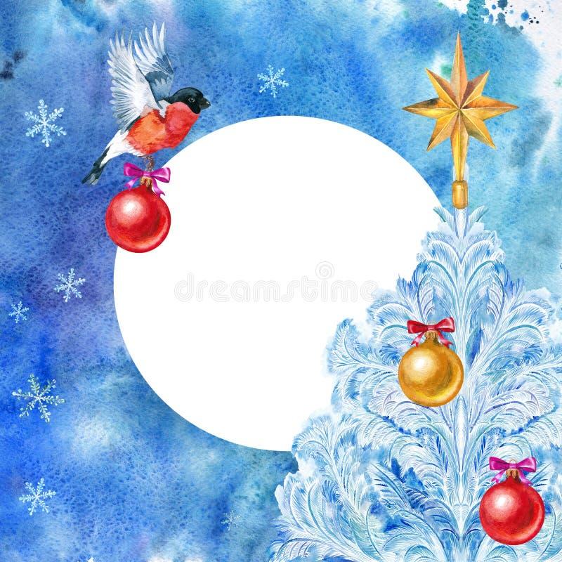 Cartão de Natal bullfinch Bola do Natal e árvore de Natal em um fundo azul ilustração stock