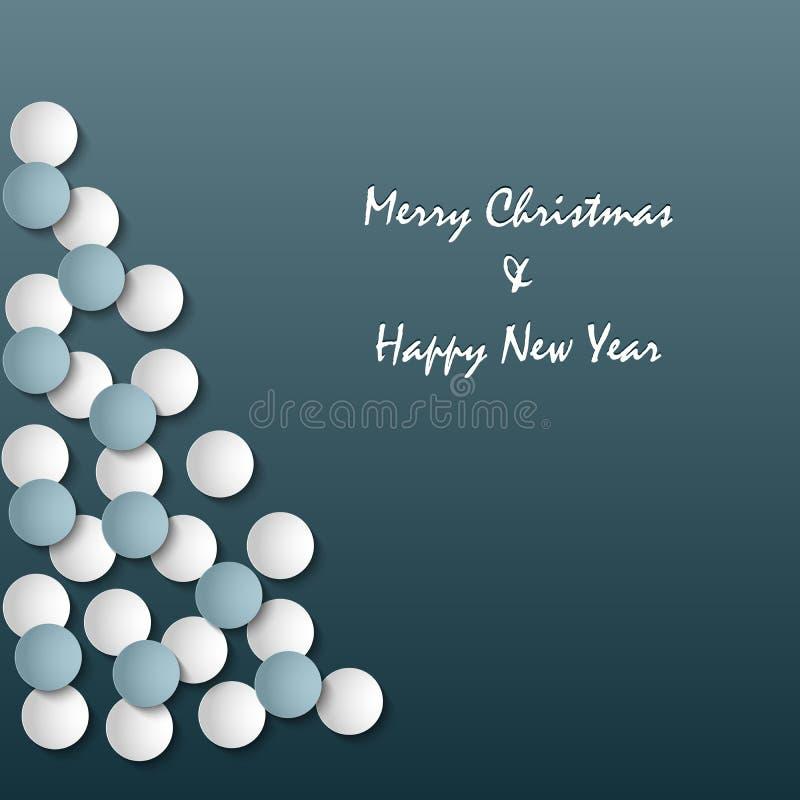 Cartão de Natal com a árvore abstrata no fundo azul ilustração do vetor