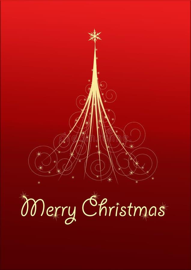 Cartão de Natal com árvore de Natal ilustração do vetor