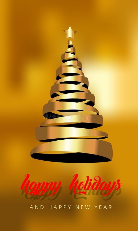 Cartão de Natal com árvore dourada - ilustração stock
