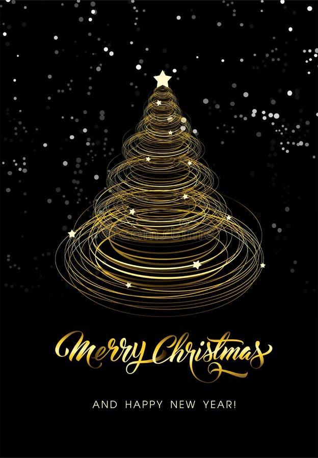 Cartão de Natal com árvore dourada - vetor ilustração do vetor