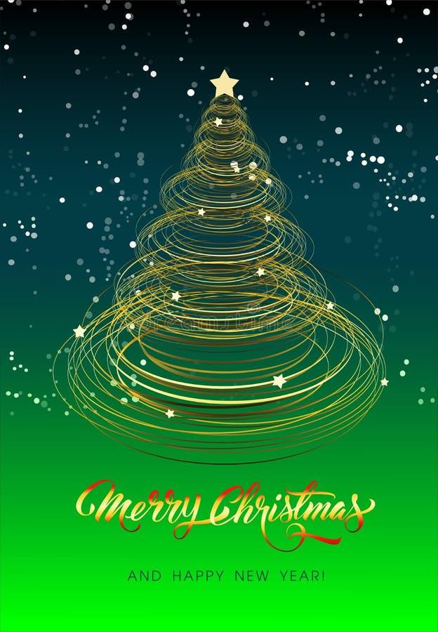 Cartão de Natal com árvore dourada - vetor ilustração royalty free