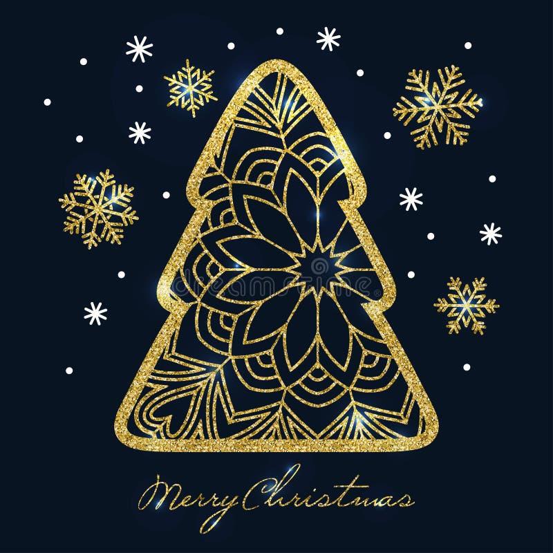 Cartão de Natal com a árvore e os flocos de neve dourados de Natal do brilho ilustração royalty free