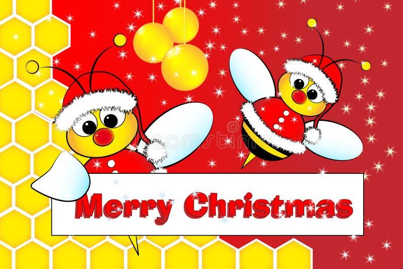 Cartão de Natal com abelhas Papai Noel e colmeia ilustração stock