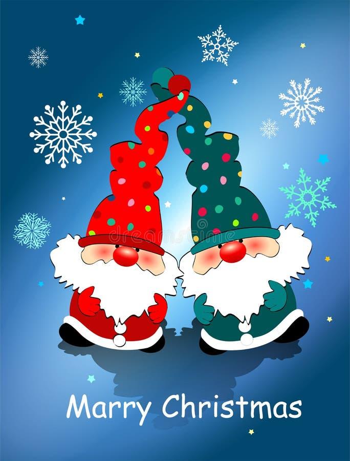 Cartão de Natal com anões do brinquedo, flocos de neve e o Natal de desejo de /Merry ilustração stock