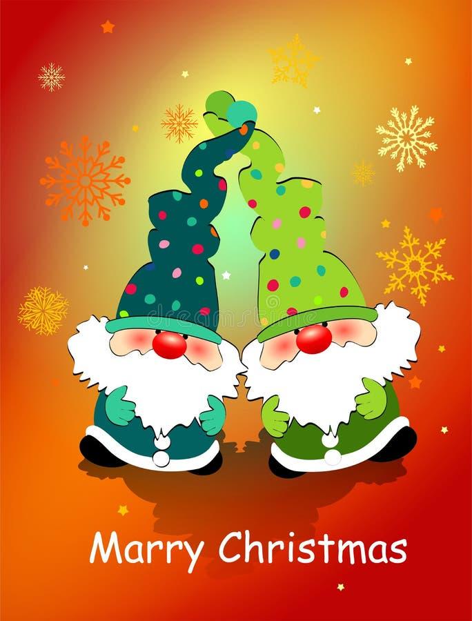 Cartão de Natal com anões do brinquedo, flocos de neve e o Natal de desejo de /Merry ilustração do vetor