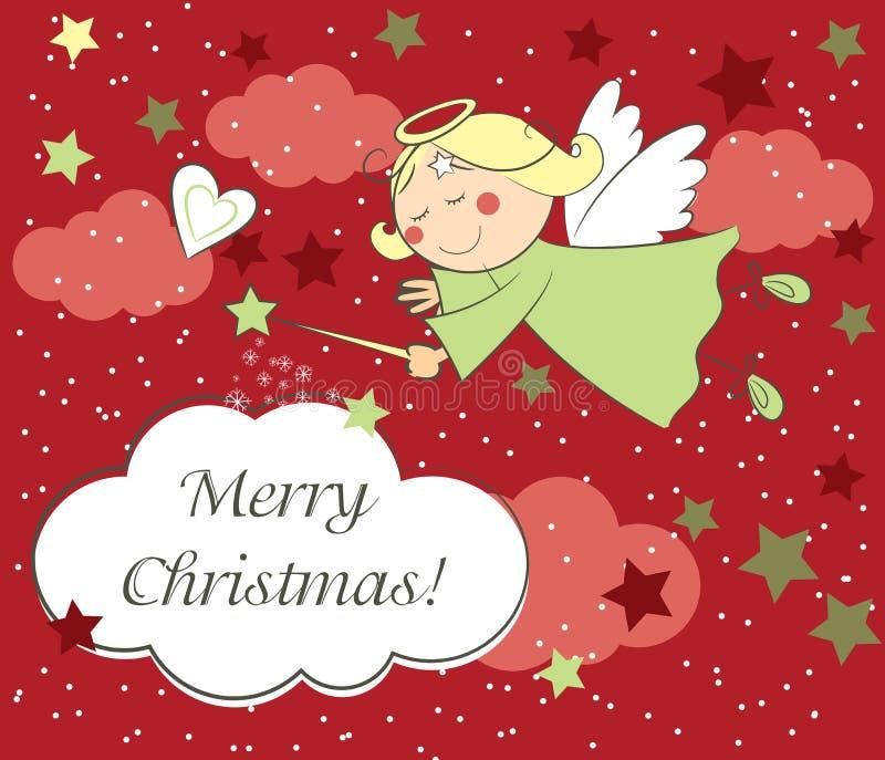 Cartão de Natal com anjo ilustração royalty free