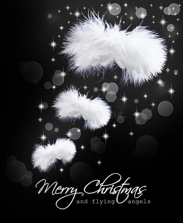 Cartão de Natal com as asas macias do anjo imagem de stock royalty free