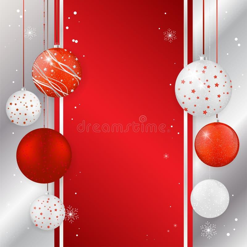 Cartão de Natal com as bolas do Natal em cores do vermelho e da prata ilustração stock