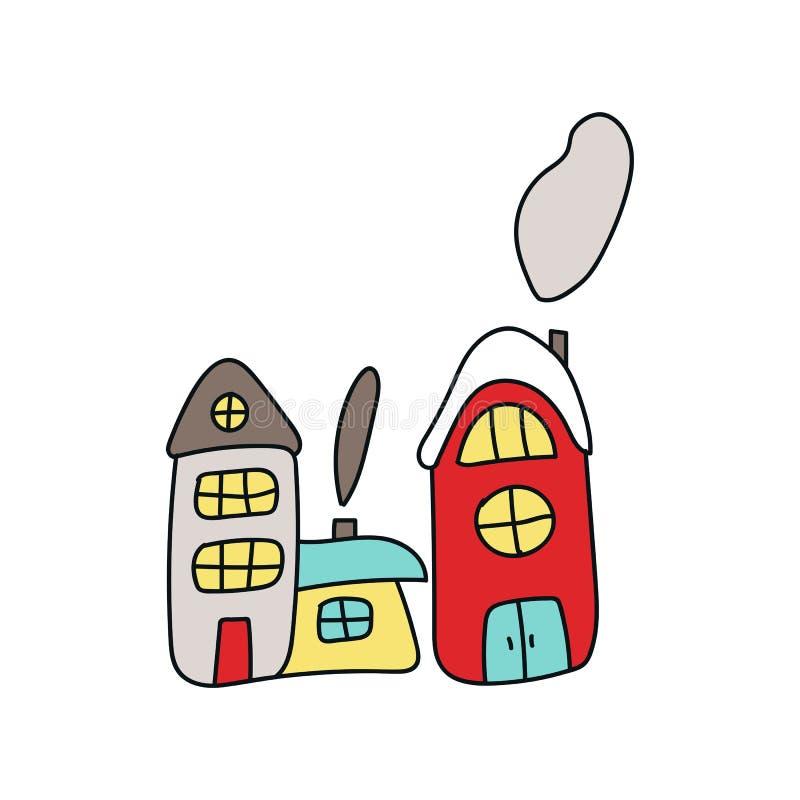 Cartão de Natal com as casas tiradas mão da cor dos desenhos animados Ilustração do vetor do ano novo ilustração stock