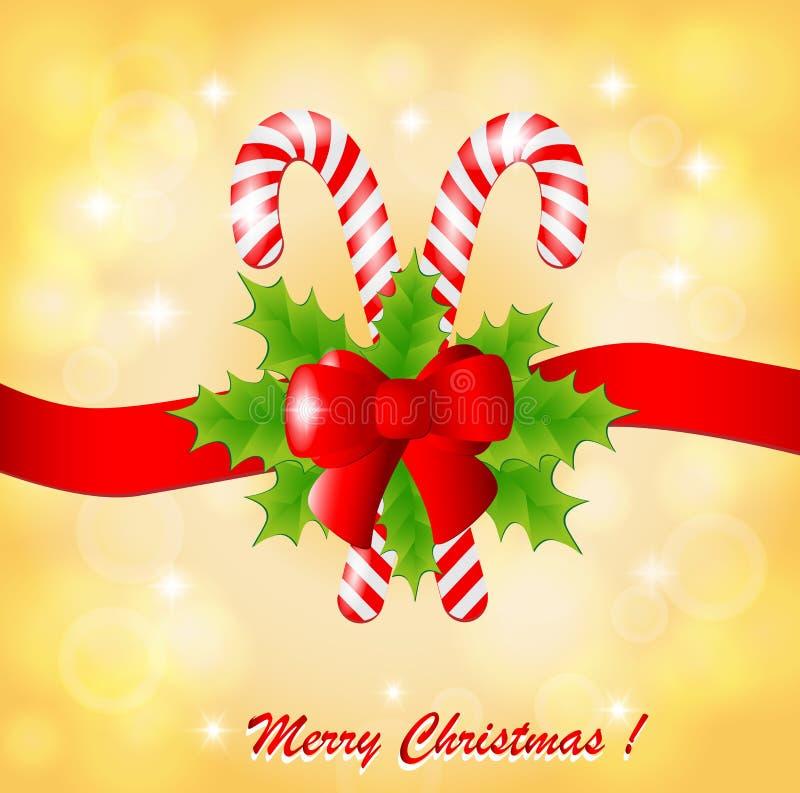 Cartão de Natal com azevinho e doces ilustração royalty free