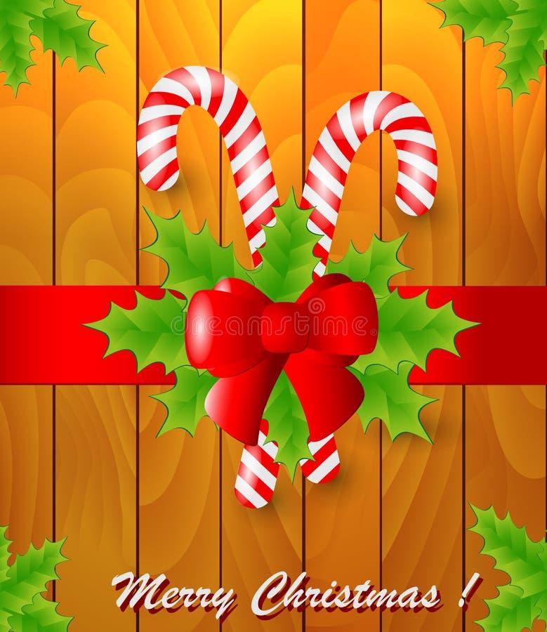 Cartão de Natal com azevinho e doces ilustração stock
