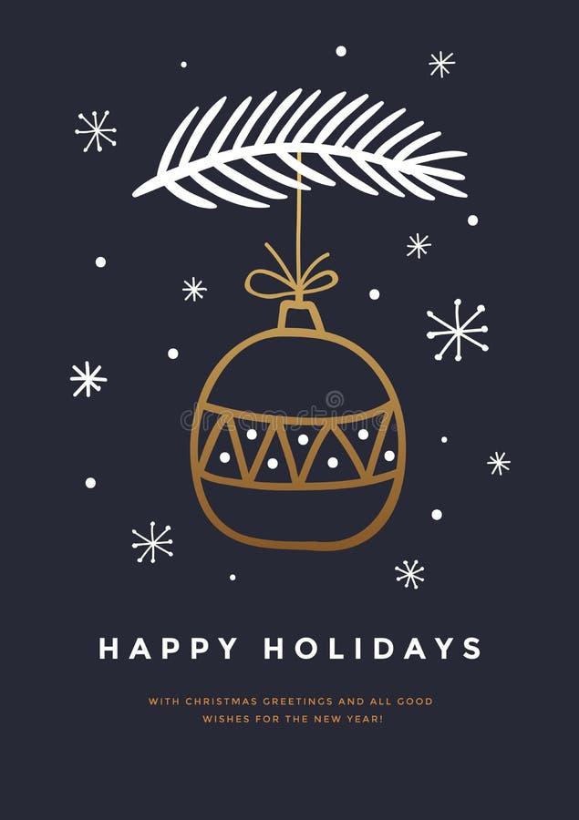 Cartão de Natal com a bola, os flocos de neve e ramo dourados tirados mão do Natal da árvore de Natal no fundo escuro ilustração royalty free