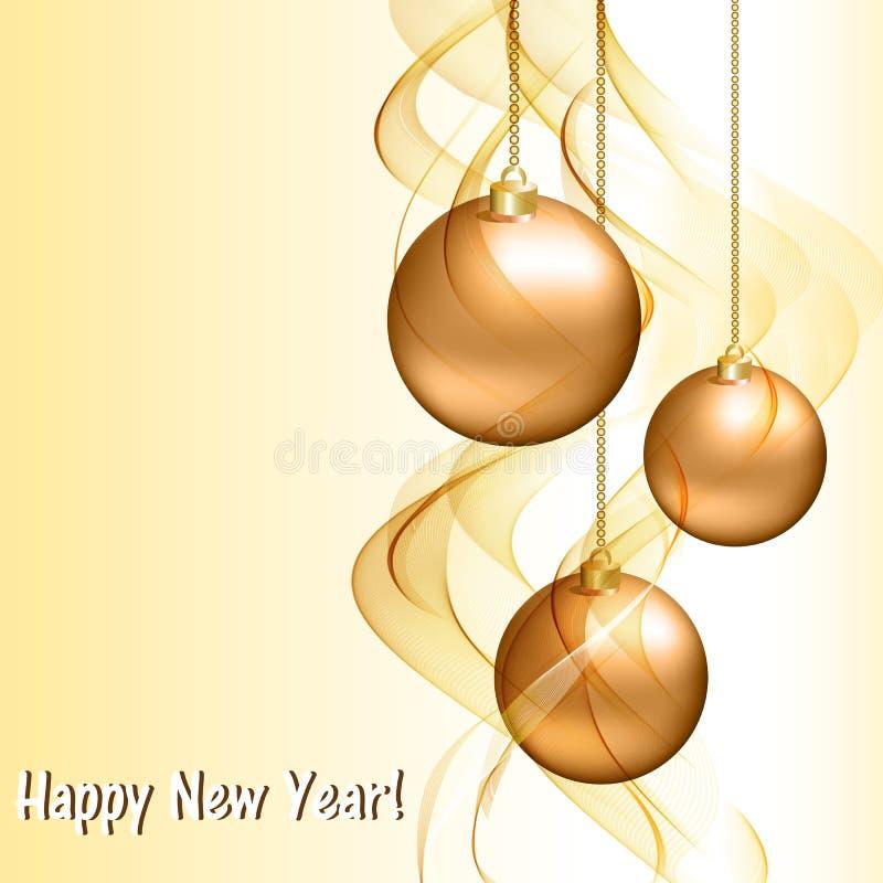 Cartão de Natal com bolas douradas ilustração stock