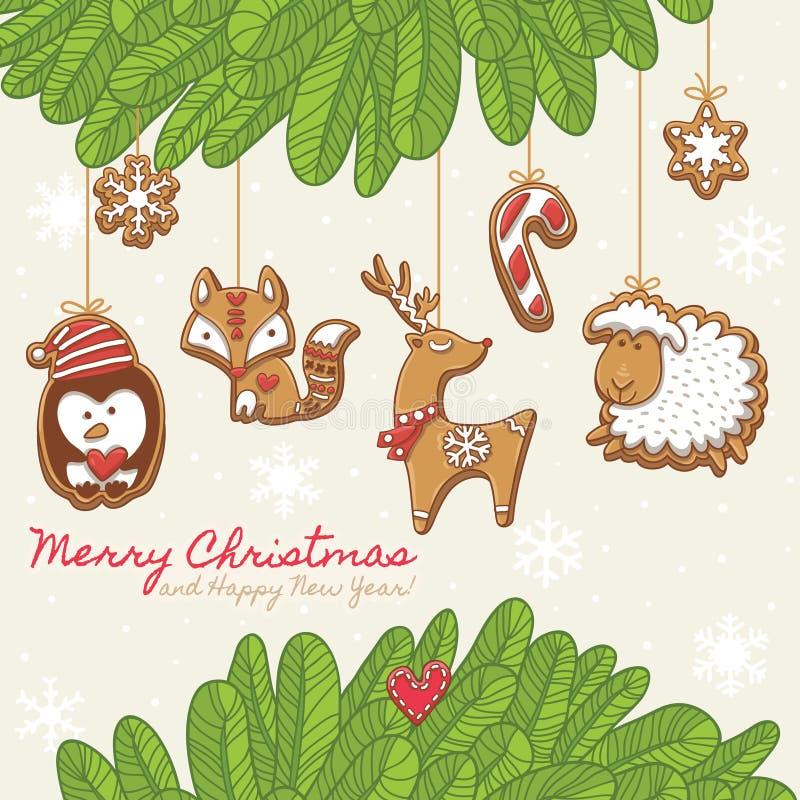 Cartão de Natal com cookies do pão-de-espécie Ilustração do vetor ilustração stock