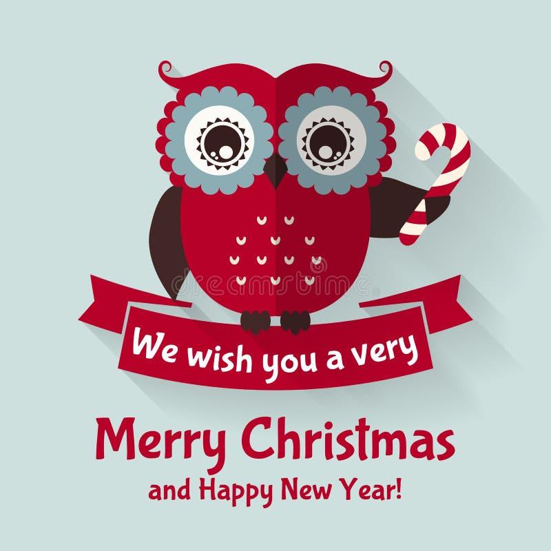 Cartão de Natal com coruja e a fita lisas Ilustração do vetor ilustração do vetor