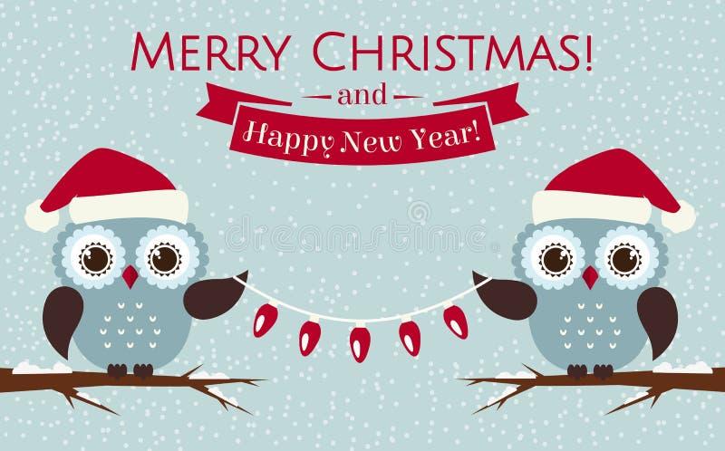 Cartão de Natal com corujas bonitos e uma festão Ilustração do vetor ilustração stock