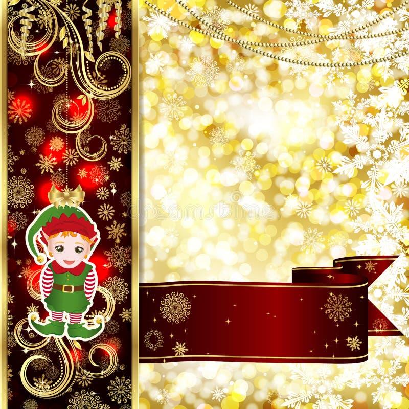 Cartão de Natal com decoração do Natal, flocos de neve em bolas ilustração stock