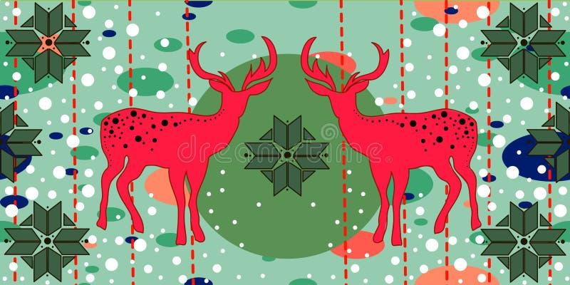 Cartão de Natal com deers ilustração royalty free