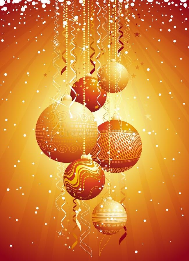 Cartão de Natal com esfera, vec ilustração do vetor