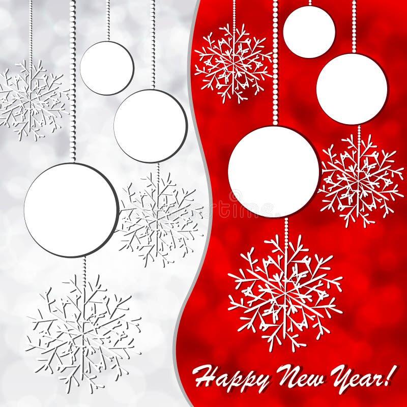 Cartão de Natal com esferas e flocos de neve ilustração stock