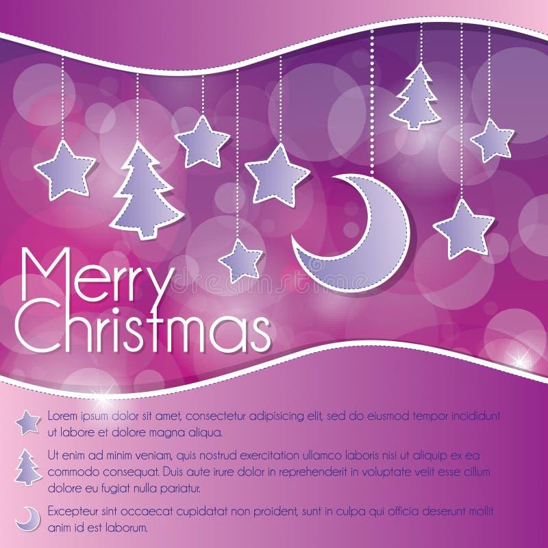 Cartão de Natal com estrelas e lua ilustração royalty free