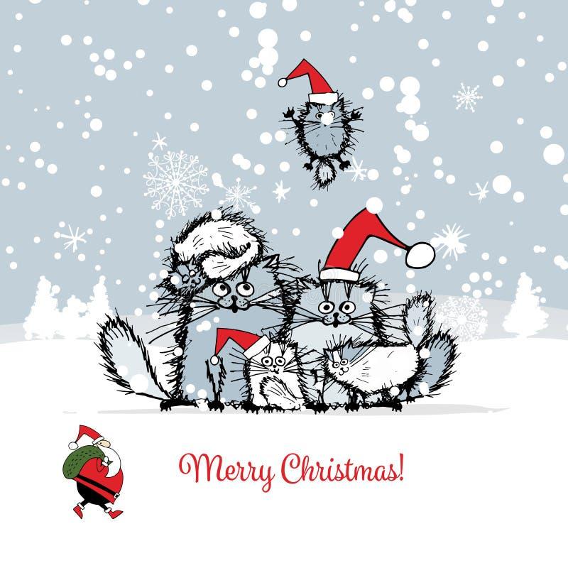 Cartão de Natal com a família de gatos feliz ilustração royalty free