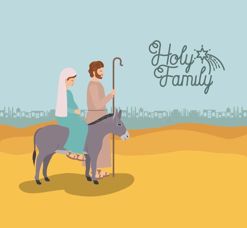 Cartão de Natal com a família santamente que viaja no deserto ilustração stock