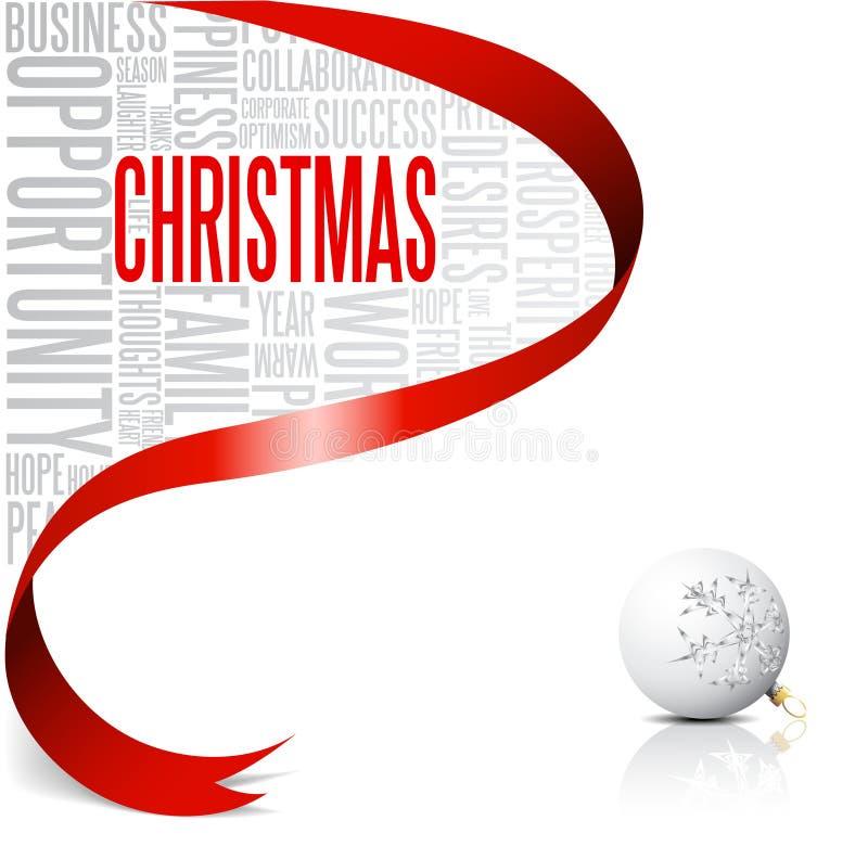 Cartão de Natal com fita vermelha ilustração royalty free