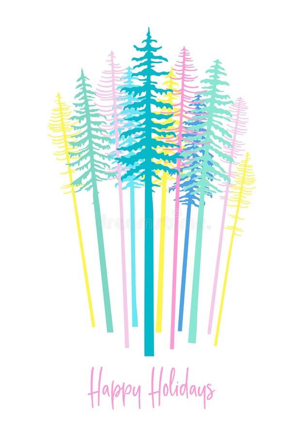 Cartão de Natal com a floresta da árvore de abeto, vetor ilustração do vetor