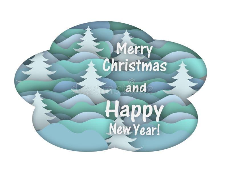 Cartão de Natal com a floresta do inverno, cortada do papel ilustração royalty free