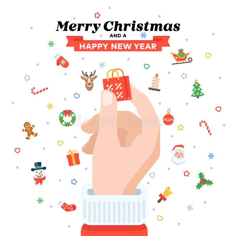 Cartão de Natal com a mão do ` s de Santa que guarda o saco de compras Projeto liso ilustração royalty free