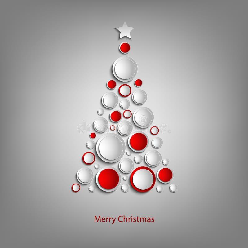 Cartão de Natal com molde branco e vermelho abstrato da árvore das bolas ilustração stock
