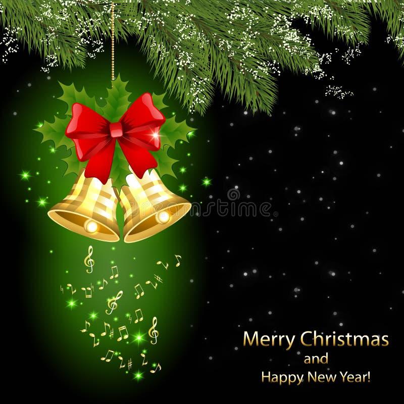 Cartão de Natal com notas musicais douradas e os sinos dourados ilustração stock