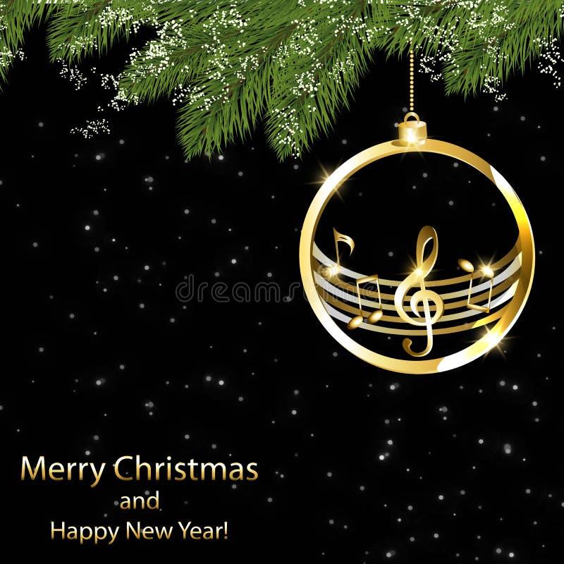 Cartão de Natal com notas musicais e os flocos de neve dourados ilustração do vetor
