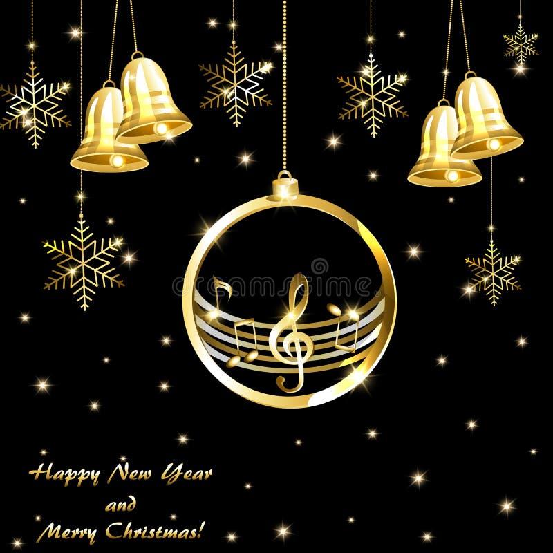Cartão de Natal com notas musicais e os sinos dourados do ouro ilustração stock
