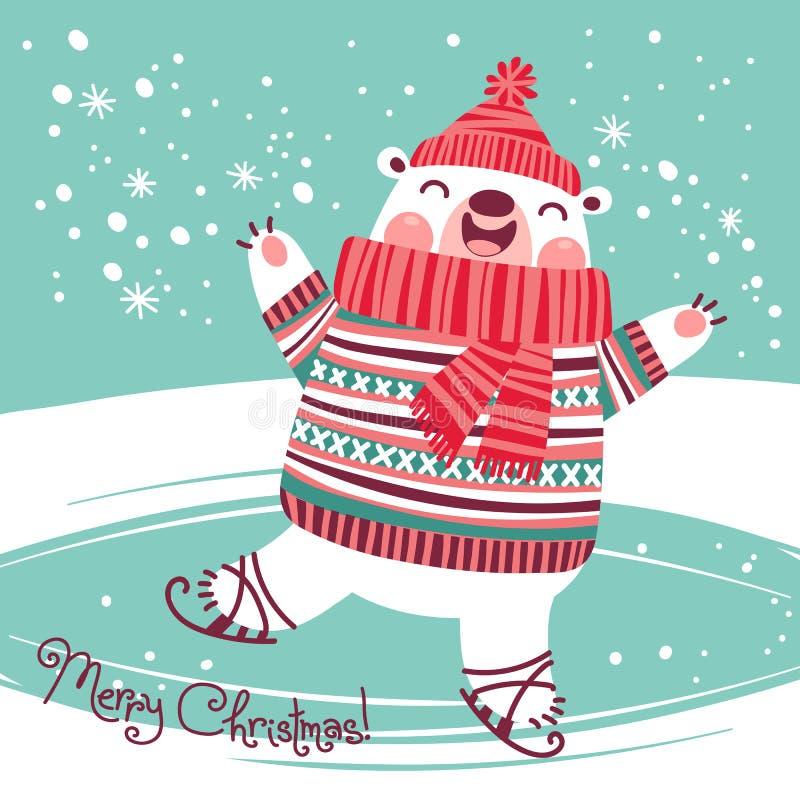 Cartão de Natal com o urso polar bonito em uma pista de gelo ilustração do vetor