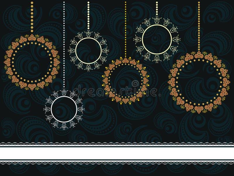 Cartão de Natal com ornamento ilustração royalty free